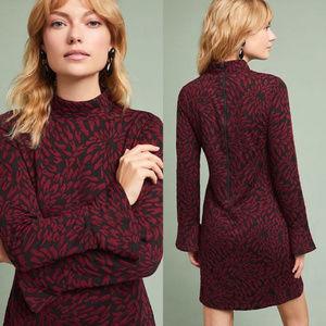 Anthropologie Hutch Burgundy Tunic Dress Meduim